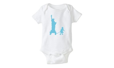 Baby Onesie Lady Liberty in Blue in German CityKinder Shop
