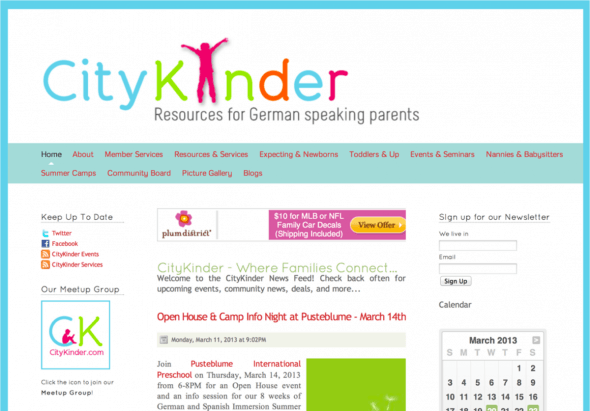 Screenshot Old Website from the CityKinder 2.0 process