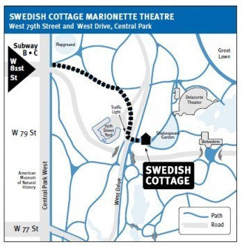 Map to Swedish Cottage Marionette Theater in Central Park New York in CityKinder German Blog CityErleben
