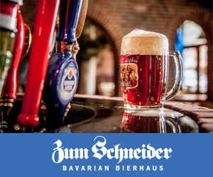 Banner for the German Restaurant and Biergarten Zum Schneider New York