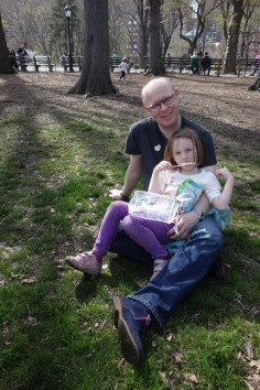 Easter Egg Hunt, Father and Daughter