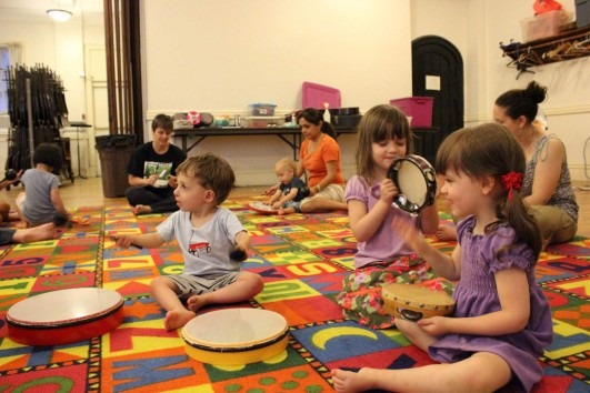 Our German Music Class, Kids playing drums