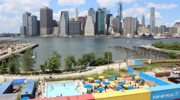 Pop-Up Pool in Dumbo with views of Manhattan