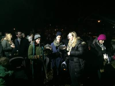 German families at lantern walk in New York