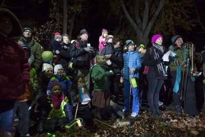 German families at lantern walk in New York