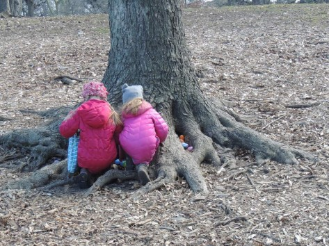 Two girls at Easter Egg Hunt Brooklyn