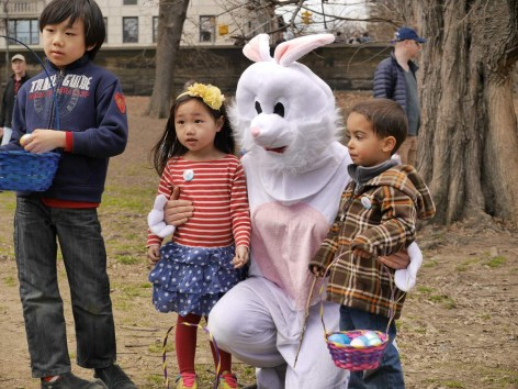 Kids and Bunny at Easter Egg Hunt Session II