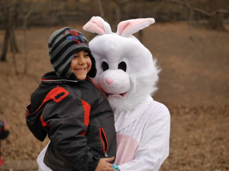 Bunny and Kid at Easter Egg Hunt
